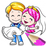 Glitter Bride and Groom Coloring Pages For Kids (MOD, Unlimited Money) 1.1