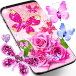 Diamond butterfly pink live wallpaper (Premium Cracked) 15.1